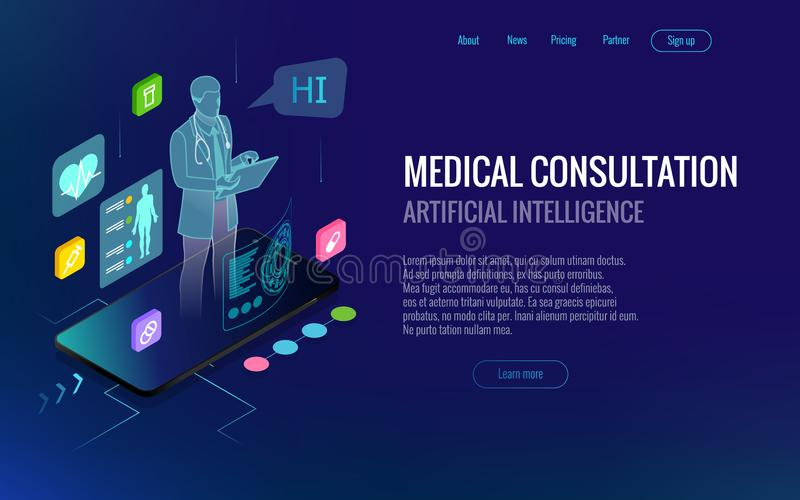 Cuidados médicos isométricos, diagnósticos e consulta médica em linha app no smartphone Conceito da saúde de Digitas com a ilustração royalty free