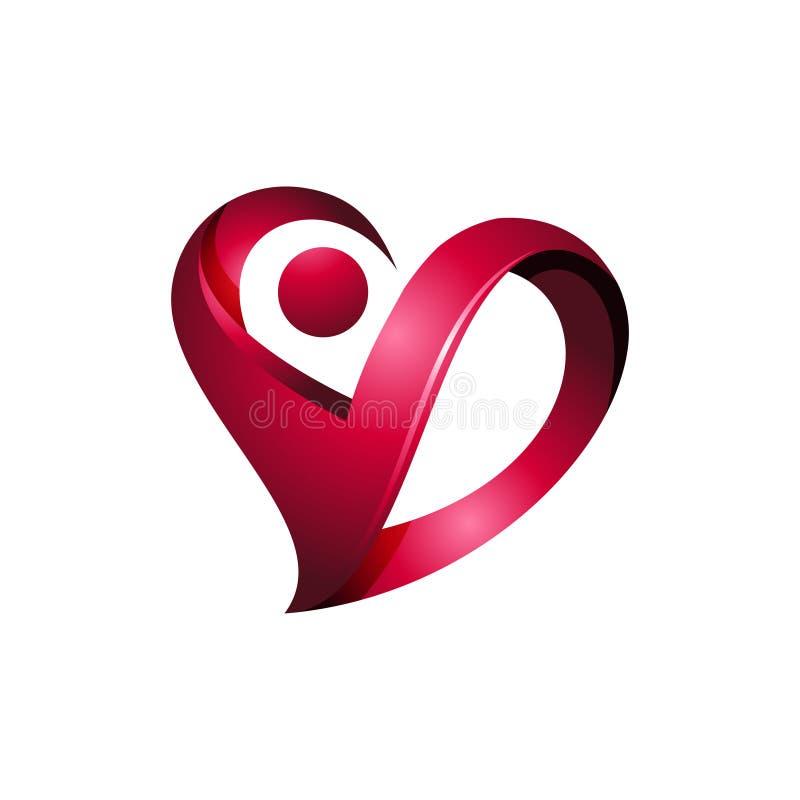 Cuidados médicos luxuosos Logo Icon do coração do espírito 3D ilustração royalty free