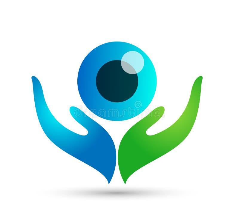 Cuidados médicos mãos globo conceito de saúde da família ícone do logotipo sinal do elemento fundo branco ilustração stock