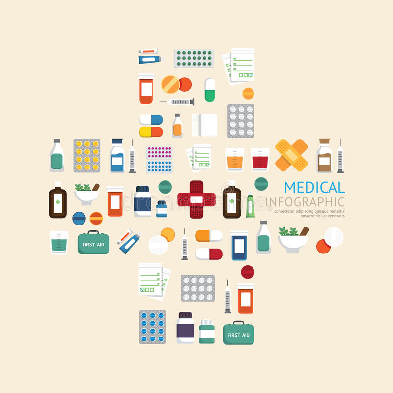 Cuidados médicos médicos dos ícones no hospital mais o molde de do sinal da forma ilustração do vetor