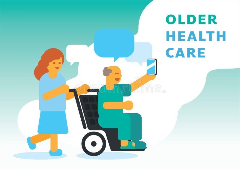Cuidados médicos mais velhos com enfermeira ilustração do vetor