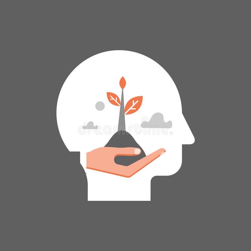 Cuidados médicos mentais, crescimento do auto, desenvolvimento potencial, motivação e aspiração, mindset positivo, psicoterapia e ilustração stock