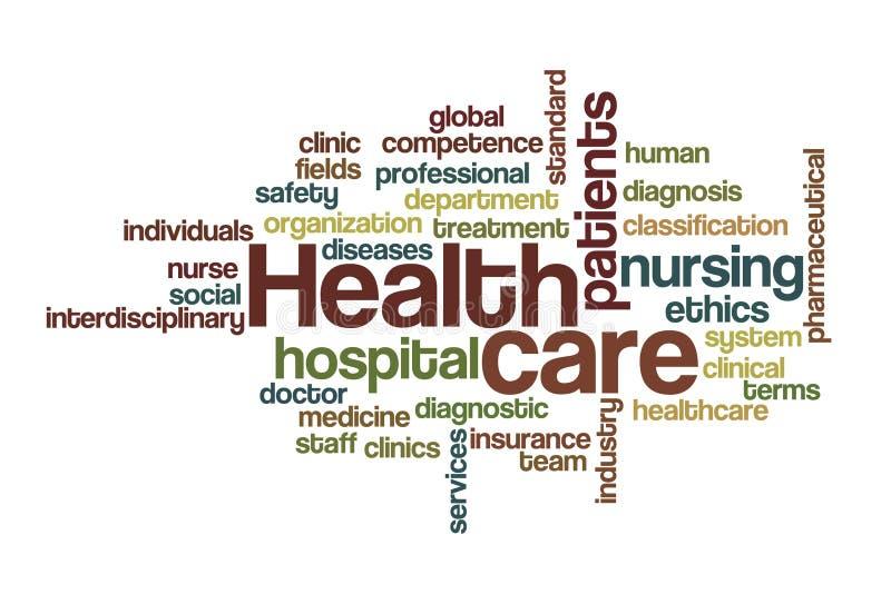 Cuidados médicos - nuvem da palavra ilustração stock
