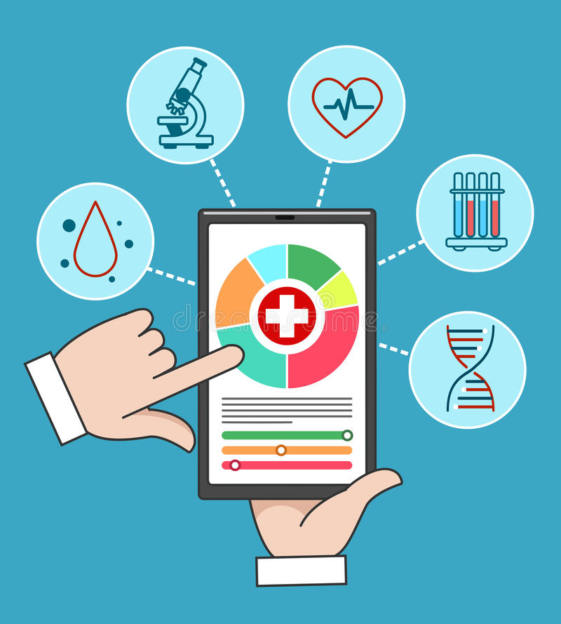 Cuidados médicos remotos do móbil dos cuidados médicos ilustração do vetor