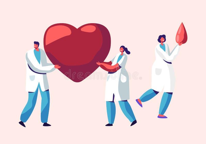 Cuidados médicos, transplantação, homem da doação de sangue e caráteres fêmeas no uniforme médico, doutores, enfermeiras Carry Hu ilustração royalty free