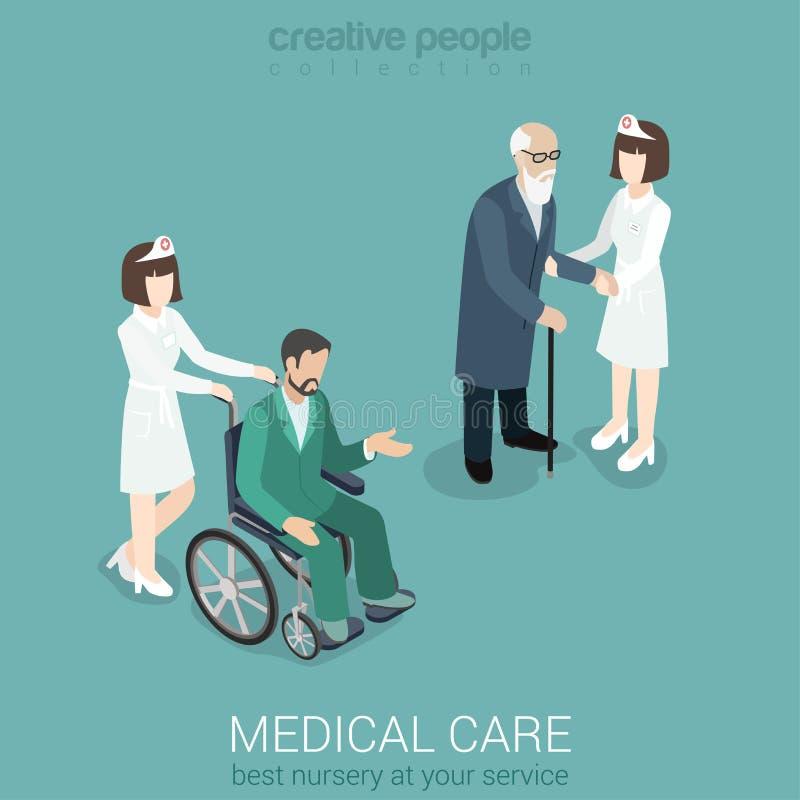 Cuide con el viejo hombre y el paciente en la silla de ruedas libre illustration