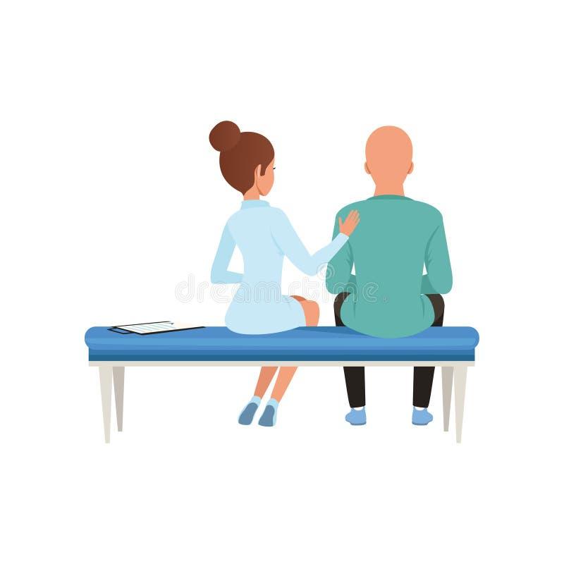 Cuide el consejo del paciente, hombre calvo con el cáncer después de la quimioterapia, terapia de la oncología, ejemplo del vecto ilustración del vector