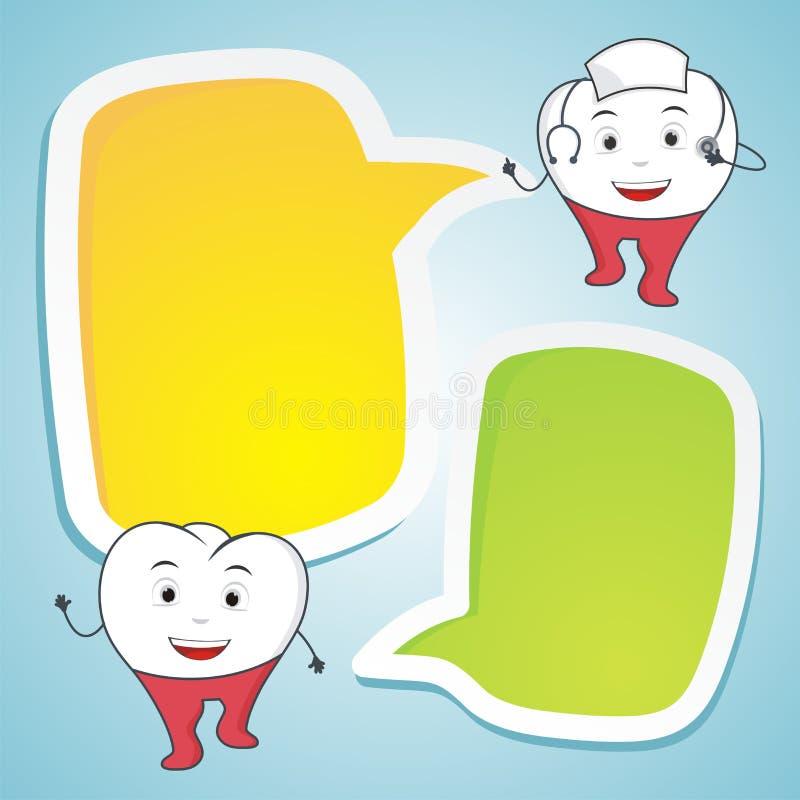 Cuide el diente con el ejemplo dental del concepto del discurso en blanco stock de ilustración