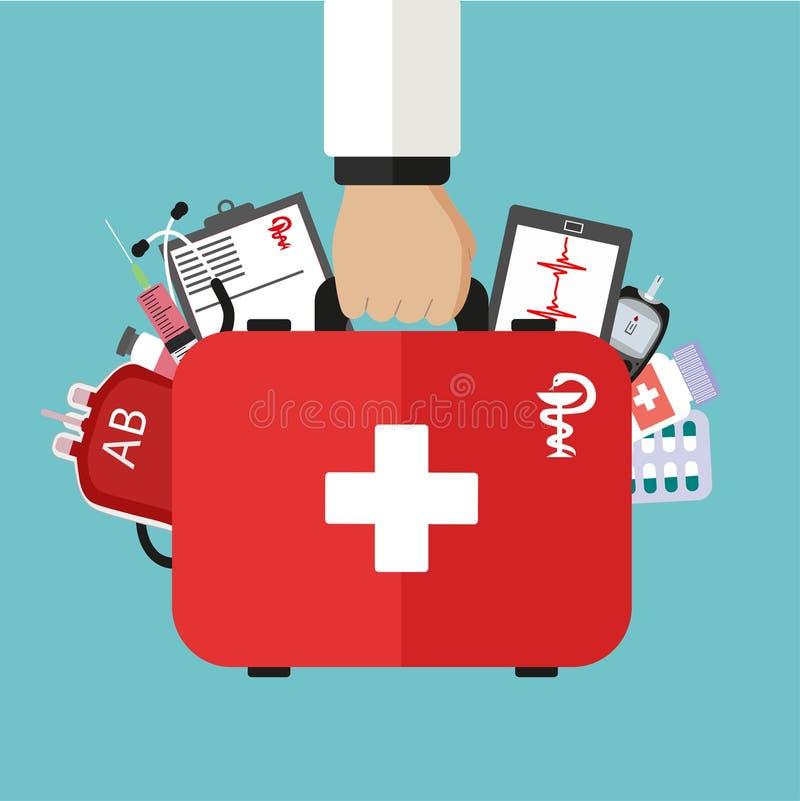 Cuide el equipo de primeros auxilios de los controles a disposición con las drogas médicas libre illustration