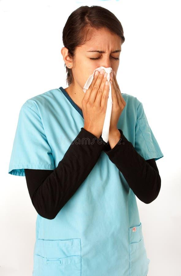 Cuide el estornudo en tejido fotos de archivo libres de regalías