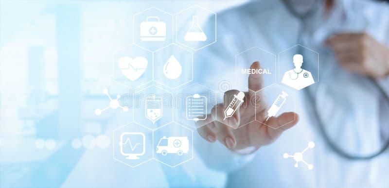 Cuide el icono blanco conmovedor médico en la pantalla virtual, te médico ilustración del vector