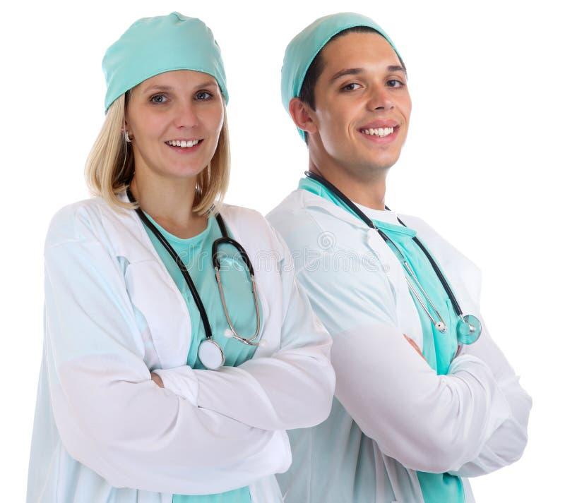 Cuide el isolat sonriente del trabajo del empleo del retrato de los doctores de los jóvenes del equipo foto de archivo libre de regalías