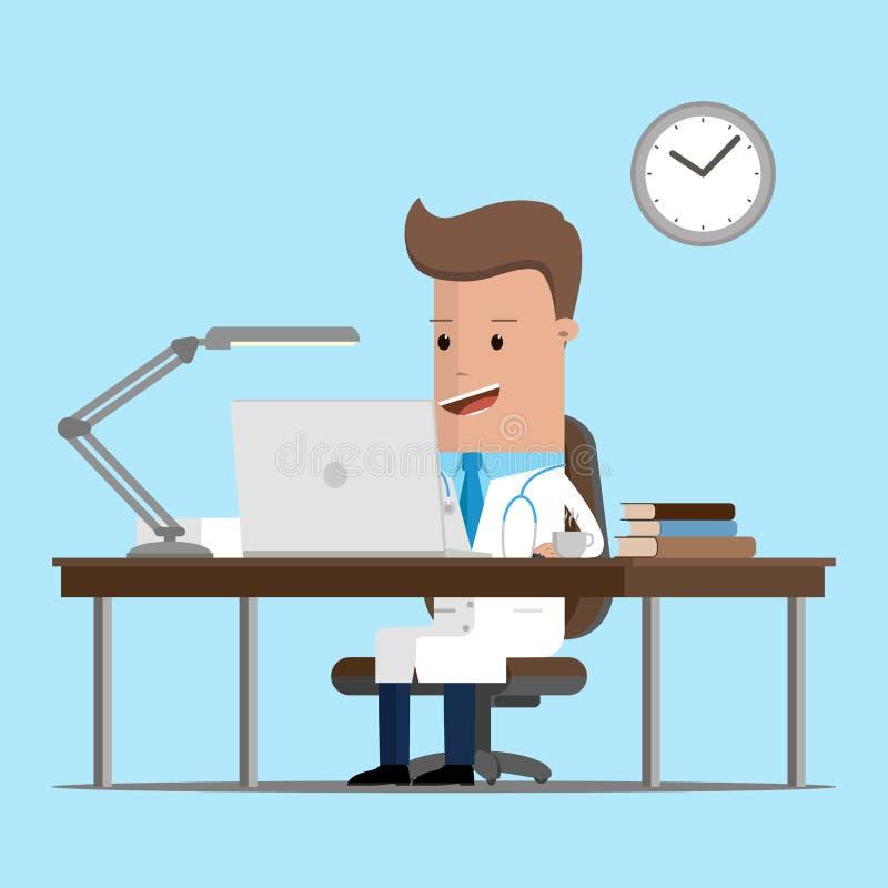Cuide el lugar de trabajo con cosas de la oficina, equipo, objetos Ilustración del vector stock de ilustración