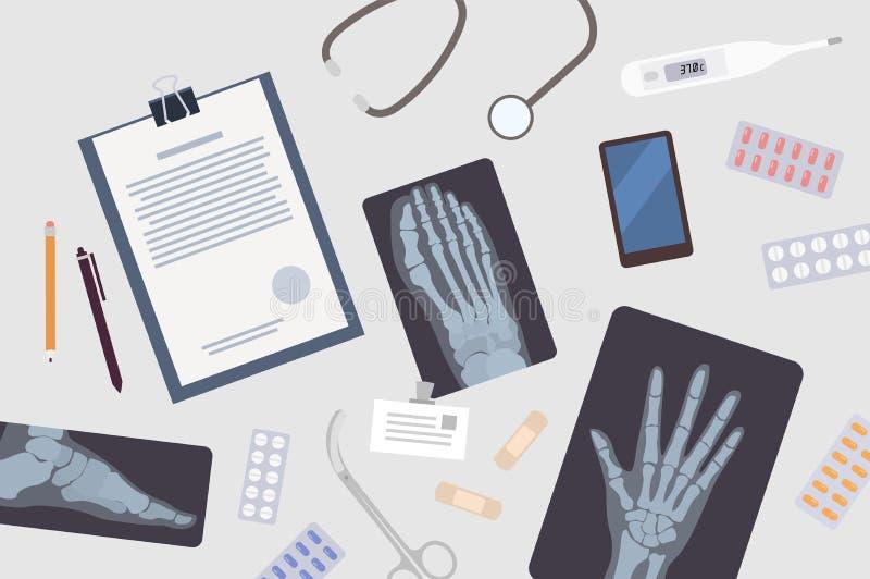 Cuide el ` s o la tabla del ` s del cirujano Documento de papel, radiografías o radiografías de las diversas partes del cuerpo, s libre illustration