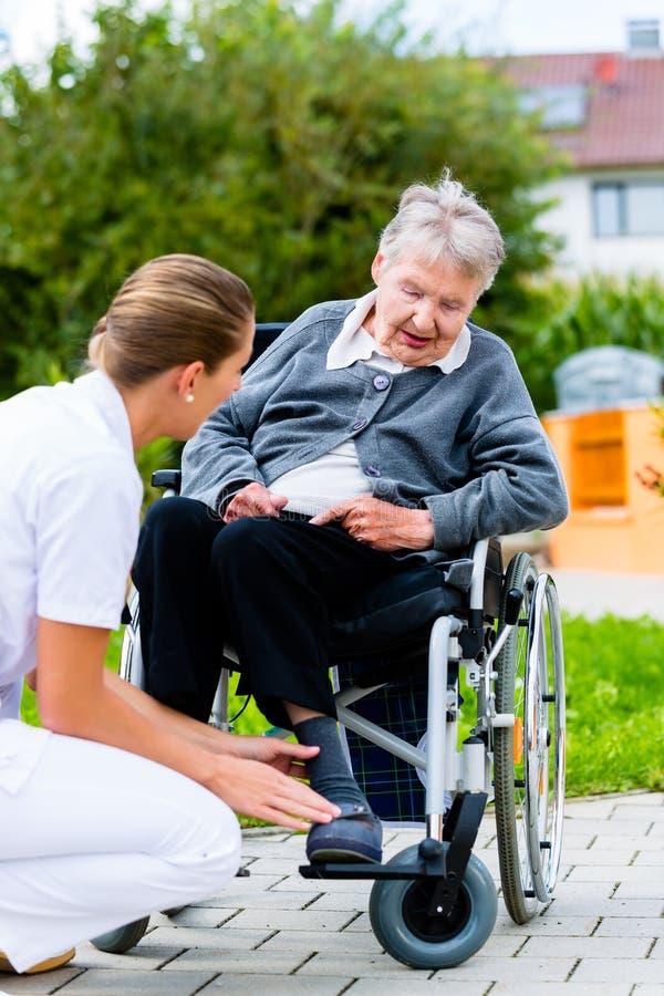 Cuide empujar a la mujer mayor en silla de ruedas en paseo foto de archivo libre de regalías