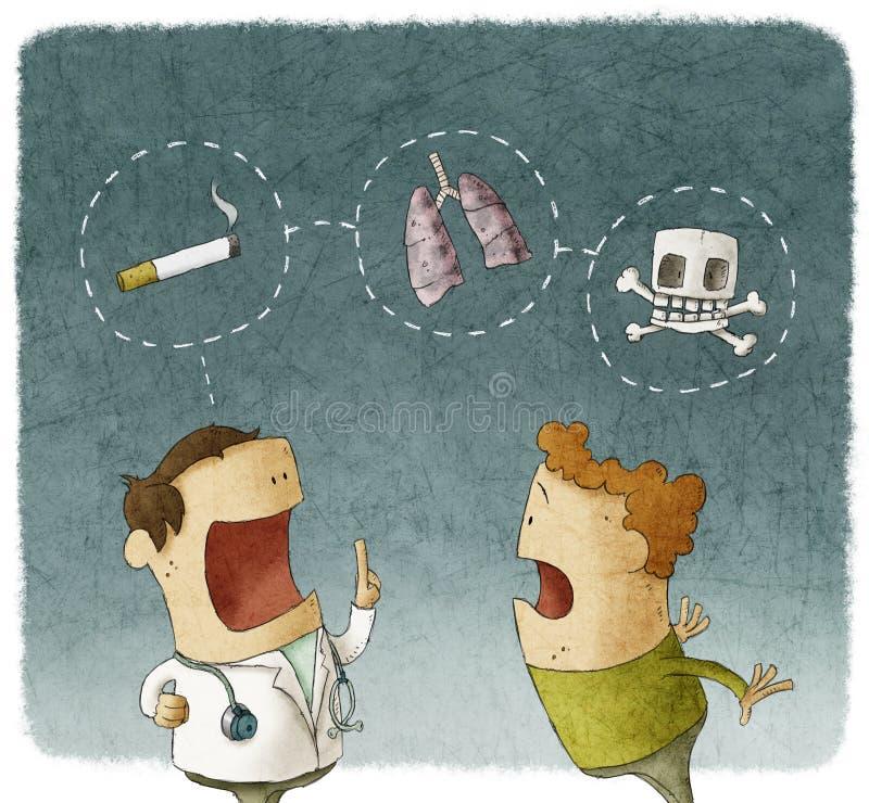 Cuide la explicación a de riesgos pacientes de fumar stock de ilustración