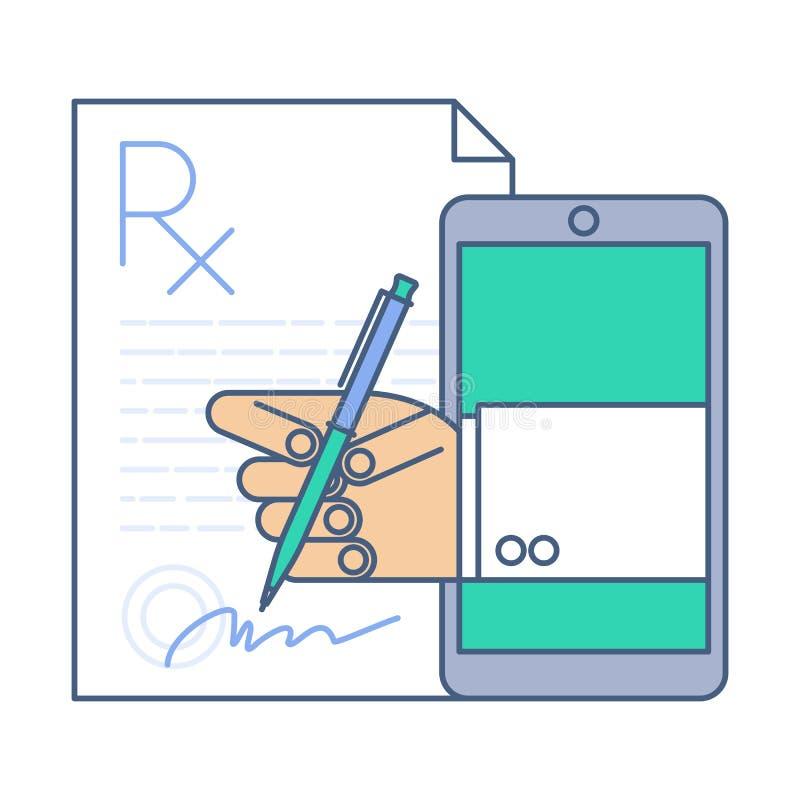 Cuide la firma de un espacio en blanco del rx de la prescripción por el teléfono Medicina en línea ilustración del vector