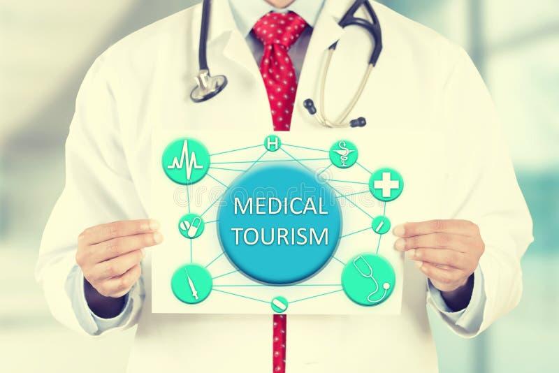 Cuide las manos que llevan a cabo la muestra de la tarjeta con el mensaje médico del turismo fotografía de archivo libre de regalías