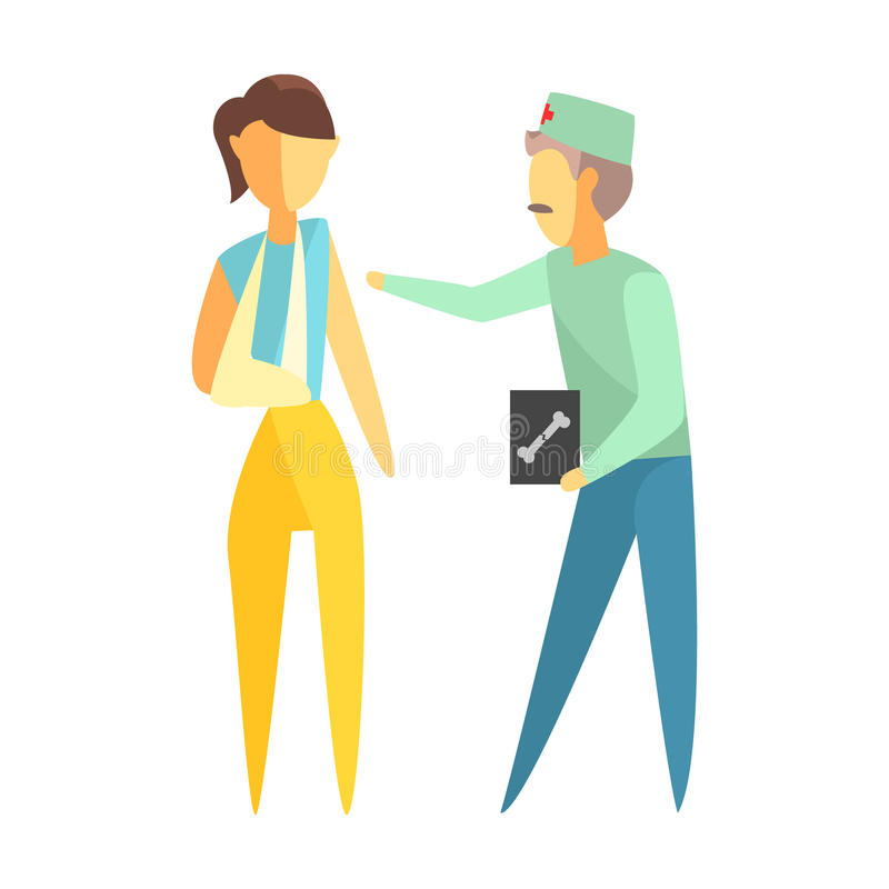 Cuide llevar a cabo imagen de Roentgen y la ayuda de una mujer con un brazo quebrado Personajes de dibujos animados coloridos libre illustration