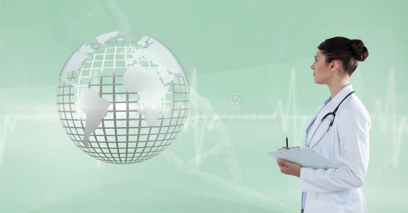 Cuide (mujer) la mirada de la tierra metálica 3D ilustración del vector