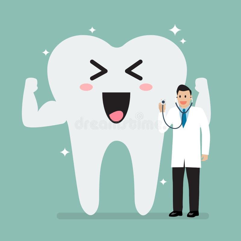 Cuide sostener el estetoscopio para comprobar encima del diente sano ilustración del vector