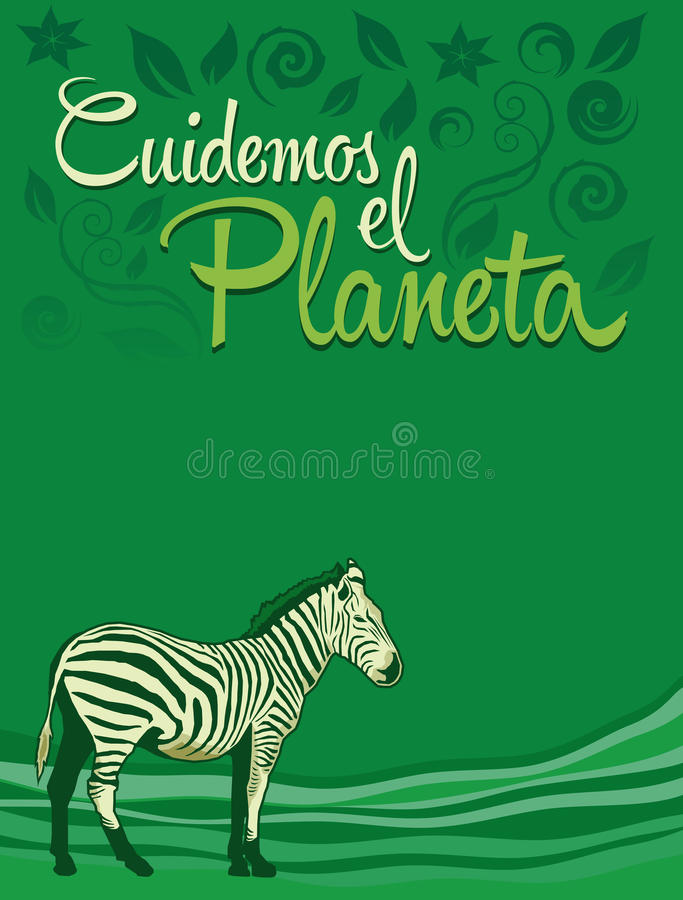 Cuidemos el Planeta - att bry sig för planetspanjoren  royaltyfri illustrationer
