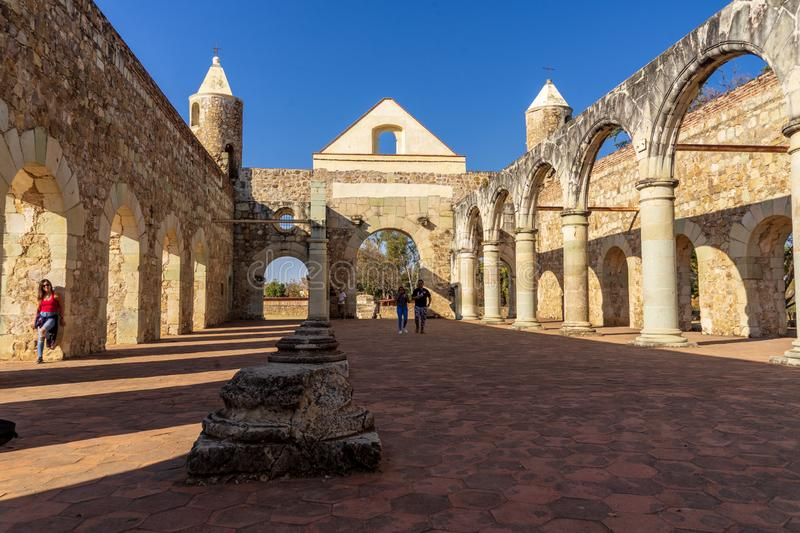The old walls of Cuilapam covent, Mexico. Cuilapam covent, in Oaxaca area, was built in 1555 by Dominican priests to evangelize Indians in the area stock images