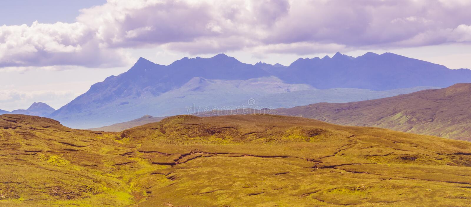 The Cuilin mountain range on the Isle of Skye, Scotland, UK royalty free stock images