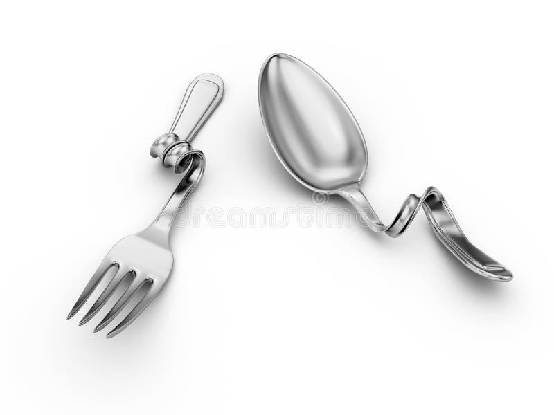 Cuillère courbée, fourchette, vaisselle de cuisine de bris illustration stock