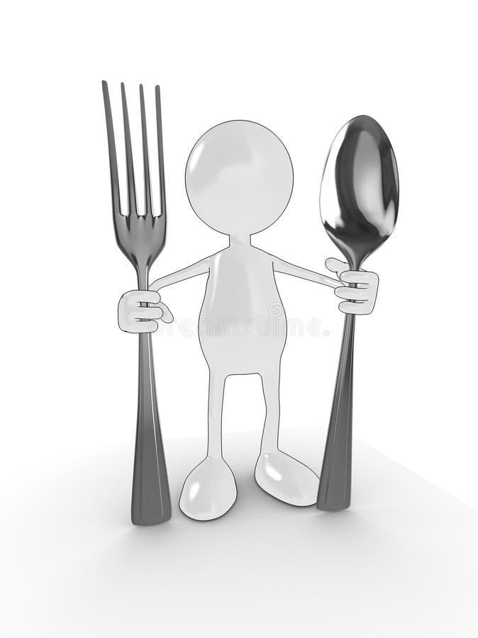 cuillère d'homme de la fourchette 3d illustration de vecteur