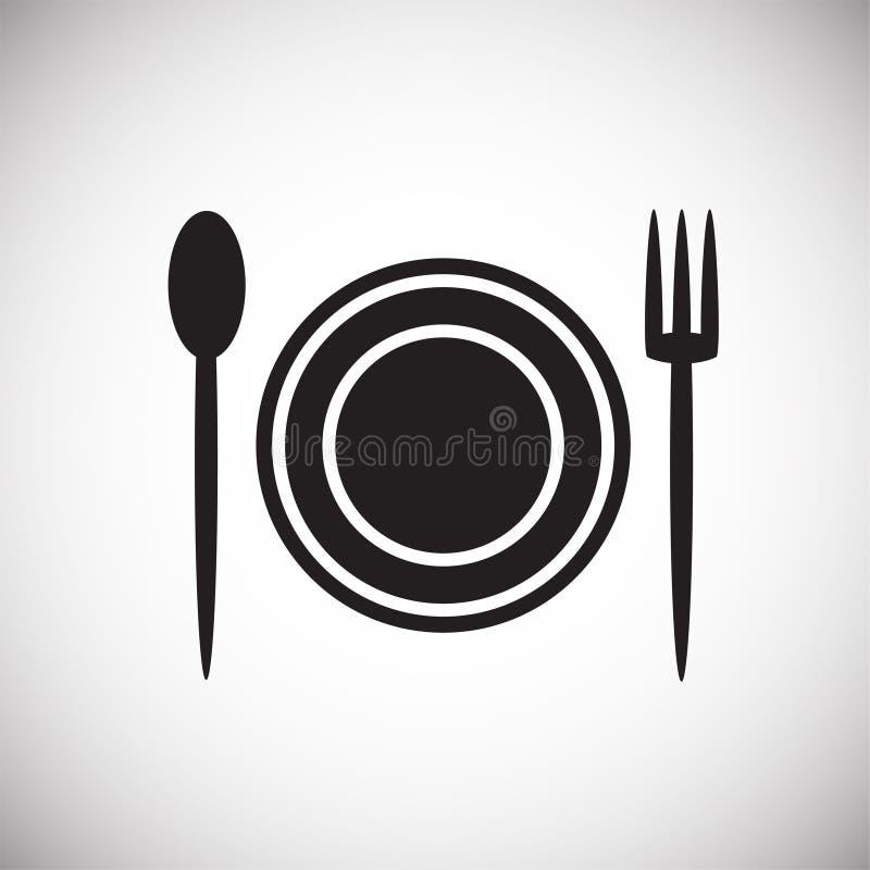Cuillère de fourchette de plat sur le fond blanc illustration de vecteur