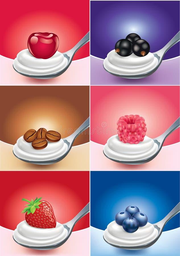 Cuillère de fruit différent avec la fraise de yaourt, framboise, myrtille illustration libre de droits