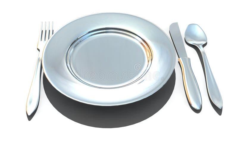 cuillère de plaque de couteau de fourchette illustration libre de droits