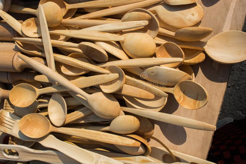 cuillère de thé faite de bois images libres de droits