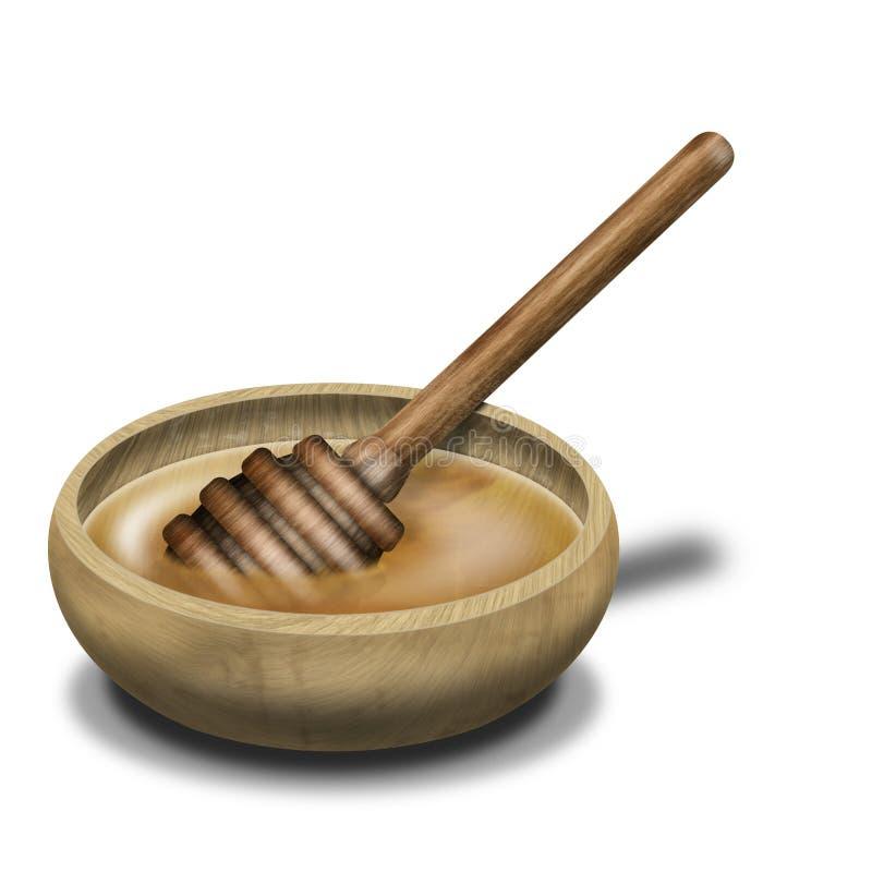 Cuillère et bassin de miel illustration stock