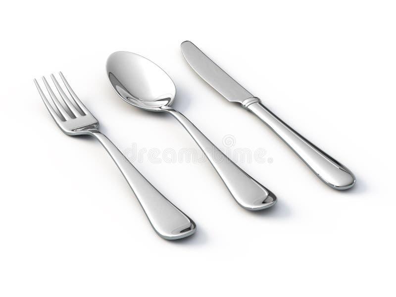 Cuillère et couteau de fourchette illustration libre de droits