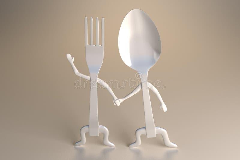 Cuillère et fourchette illustration de vecteur