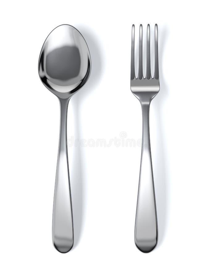 Cuillère et fourchette illustration libre de droits