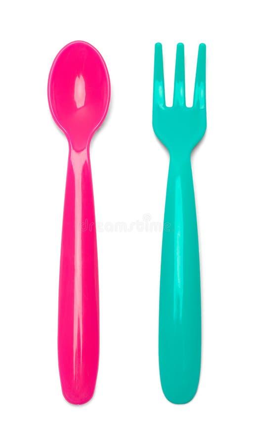 Cuillère et fourchette de chéri photographie stock