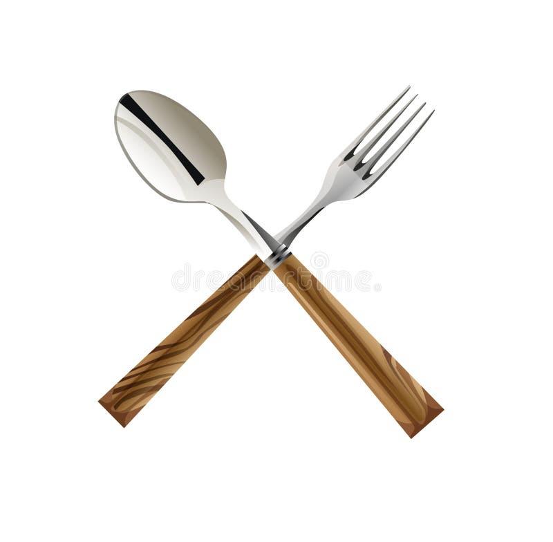 Cuillère et fourchette en travers illustration libre de droits