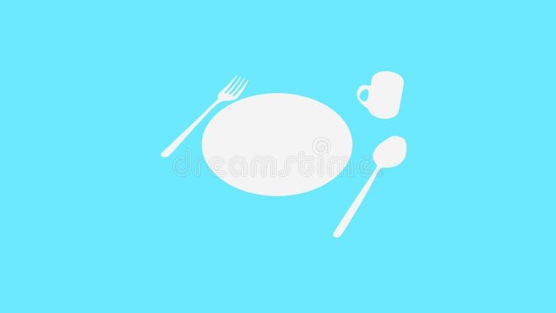 Cuillère et fourchette et plat et tasse sur le bleu photos stock