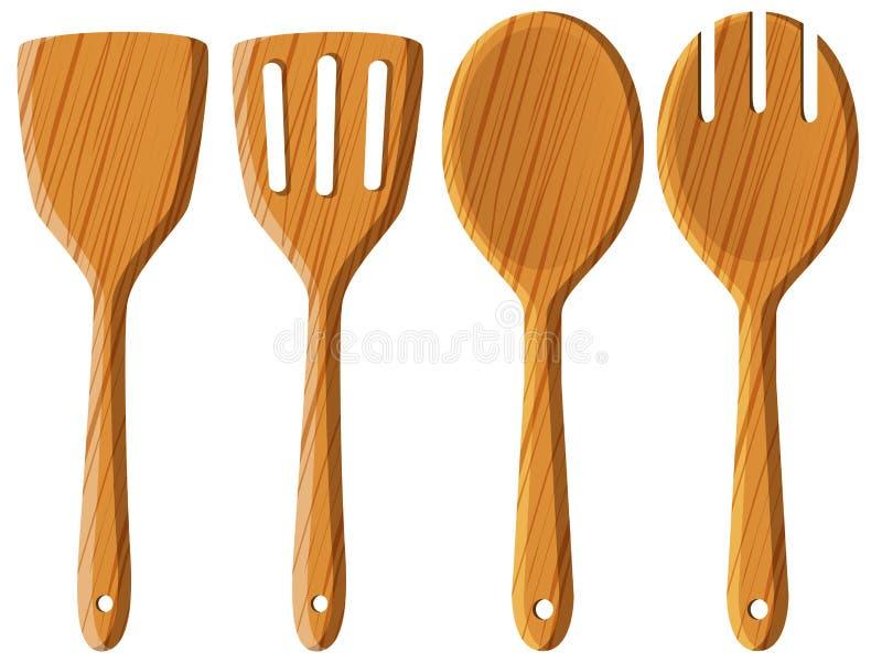 Cuillère et spatule en bois illustration stock