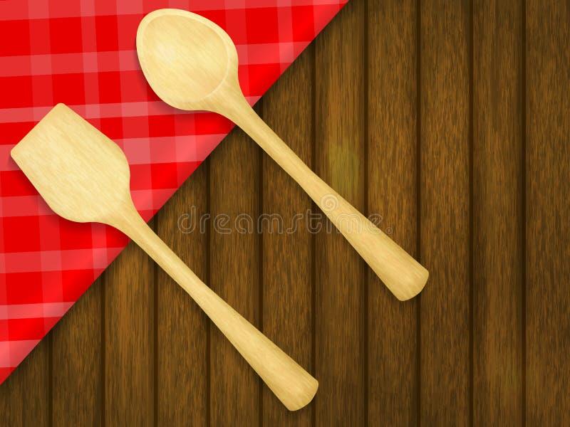 Cuillère et spatule en bois sur la nappe à carreaux rouge illustration stock