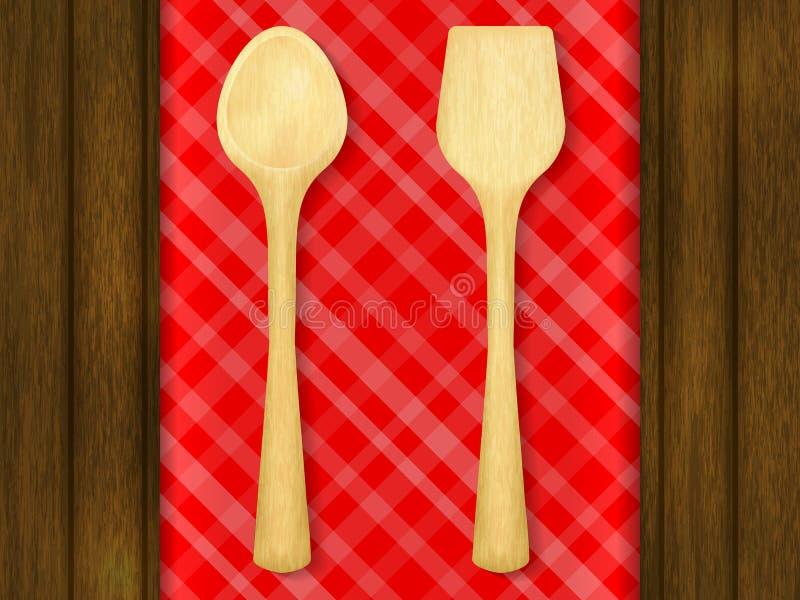 Cuillère et spatule en bois sur le fond à carreaux rouge de nappe illustration de vecteur