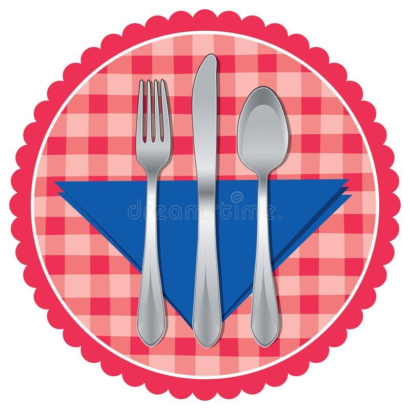 Cuillère, fourchette et couteau sur le tissu de table illustration stock