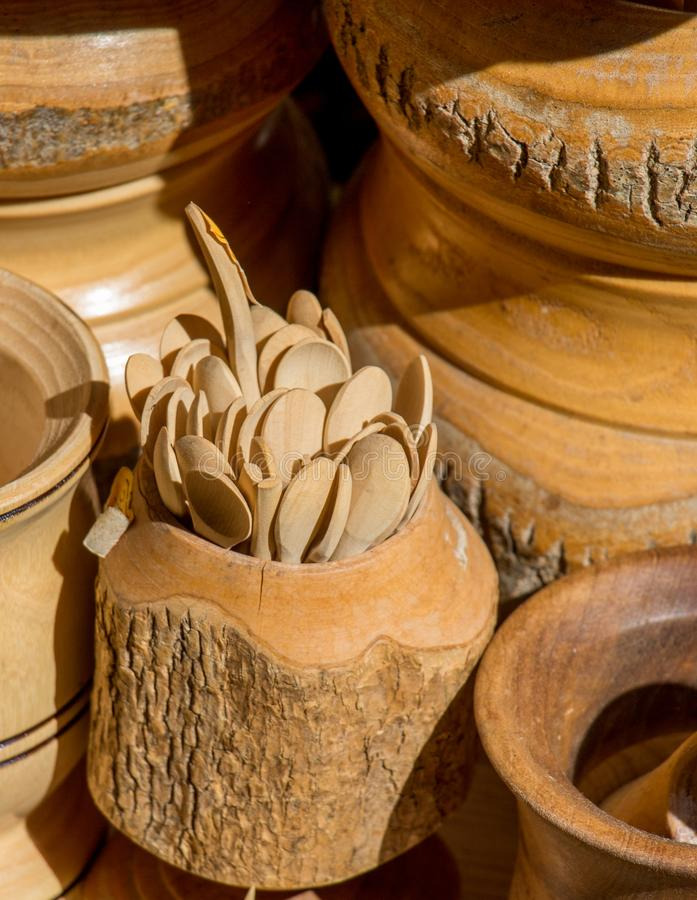 cuill?re de th? faite de bois photo stock