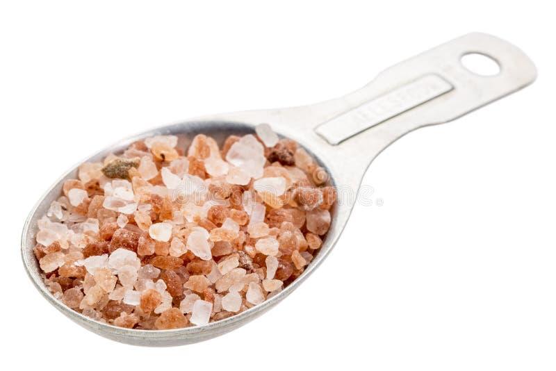 Cuillerée à soupe de sel de l'Himalaya brut image libre de droits