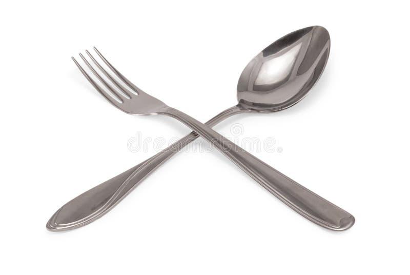 Cuillerée à soupe et fourchette photos libres de droits