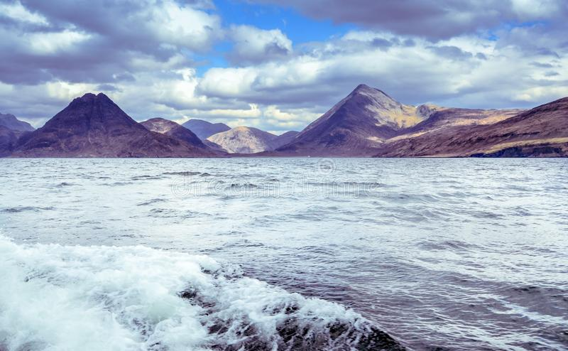 Cuillin mountain range seen from the boat - Isle of Skye royalty free stock photo
