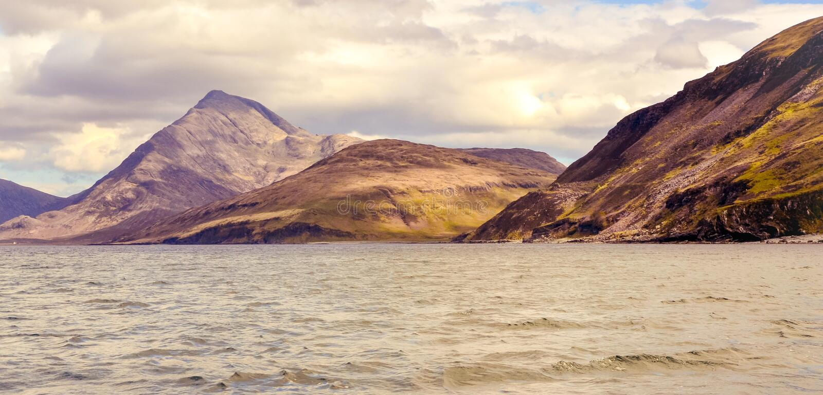 Cuillin mountain range seen from the boat - Isle of Skye stock images